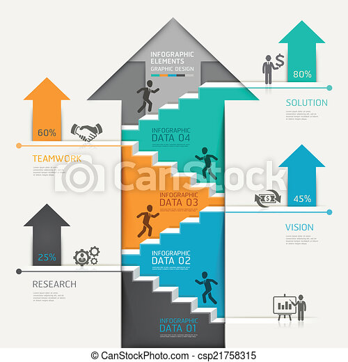 3d step up arrow staircase diagram. - csp21758315