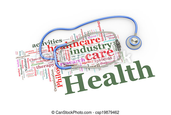 3d stethoscope over healthcare word tags illustration 3d rendering