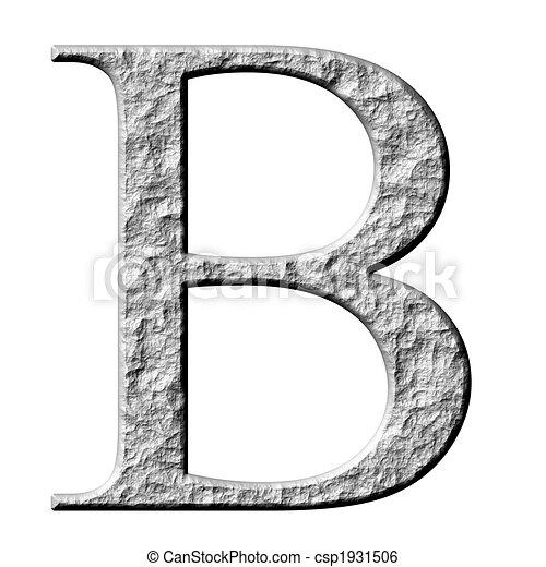 3D Stone Greek Letter Beta - csp1931506