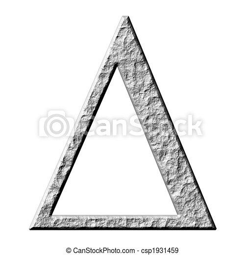 3d stone greek letter delta isolated in white stock illustration