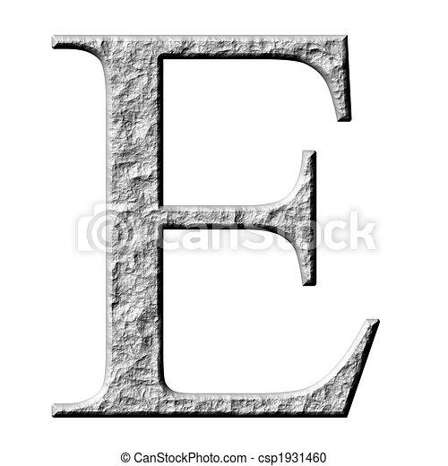 3D Stone Greek Letter Epsilon - csp1931460