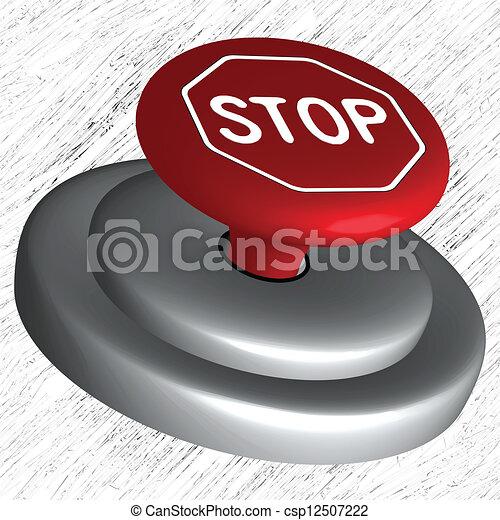 3d stop button - csp12507222