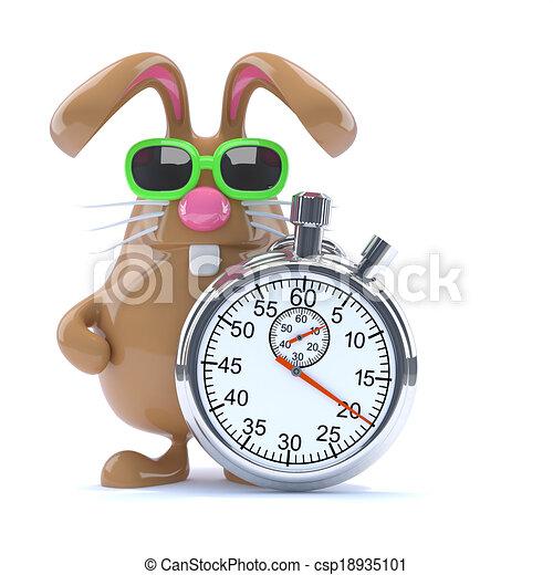 3d Stopwatch bunny - csp18935101