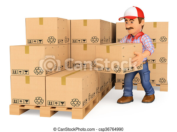 3D Storekeeper stacking boxes in a warehouse - csp36764990