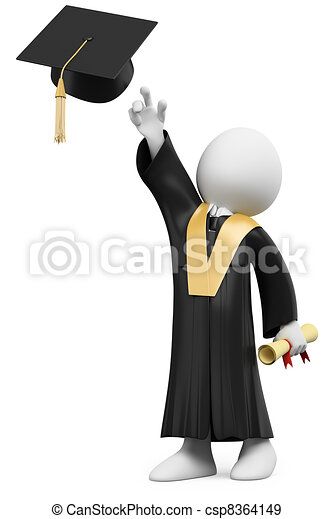 3D student dressed in cap and gown on graduation day - csp8364149