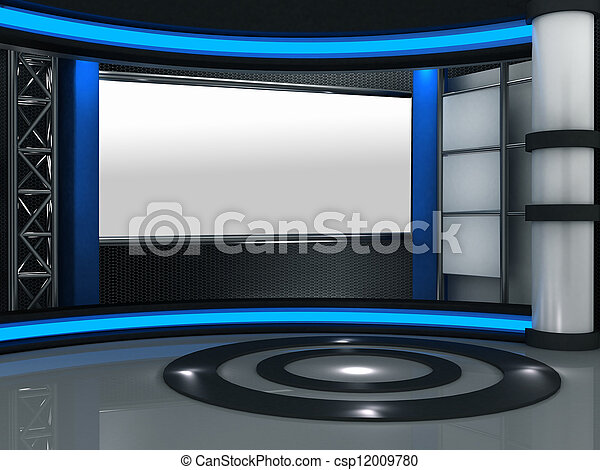 3d studio tv virtual set - csp12009780