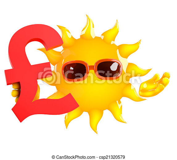 3d Sun Holds A Uk Pounds Sterling Currency Symbol 3d Render Of The