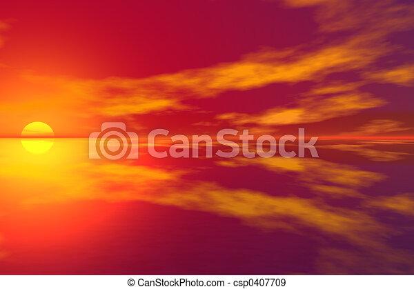 3D Sunset - csp0407709