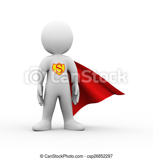 3d super hero superman in a raincoat - csp26852297