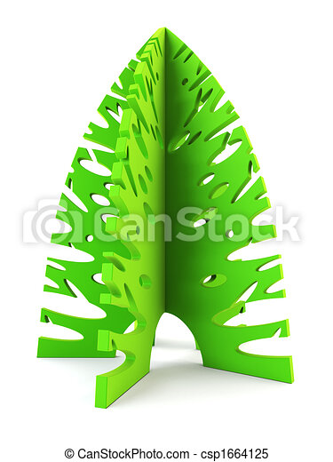 3d Symbolic New Years Fir Tree Symbolic Christmas Tree 3d Rendering