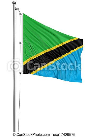 3D Tanzania flag - csp17429575