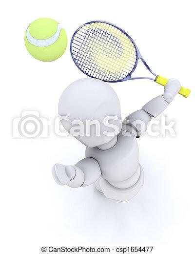 3D tennis player serving - csp1654477