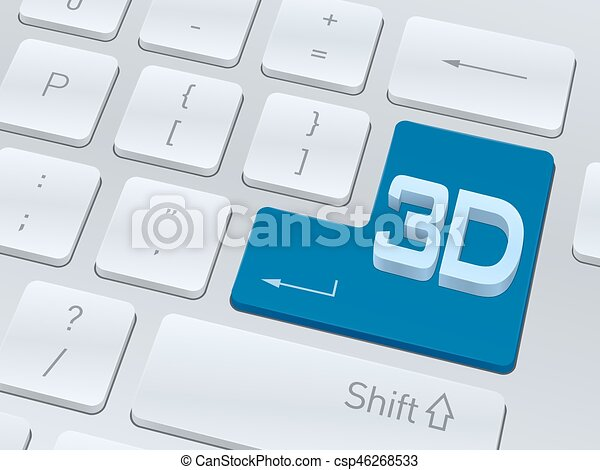 3d text concept on button of white computer keyboard. - csp46268533