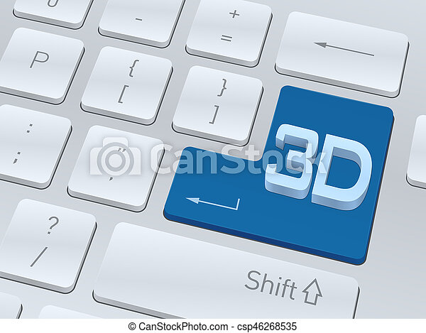 3d text concept on button of white computer keyboard