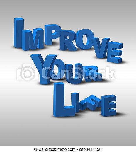 3D Text Inspiration Message Improve Your Life - csp8411450