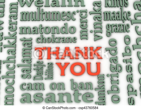 3d Thank You Word Cloud background, all languages - csp43760584