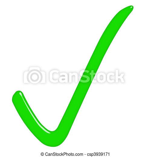 3D Tick Sign  - csp3939171