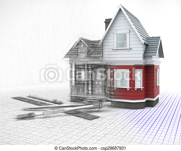 3D timber house on a grid with drawing instruments with half in sketch phase - csp29687931