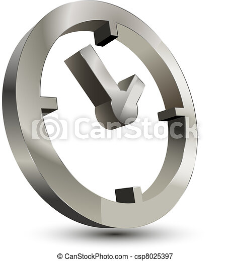 3d time clock icon 3d time clock symbol on white background
