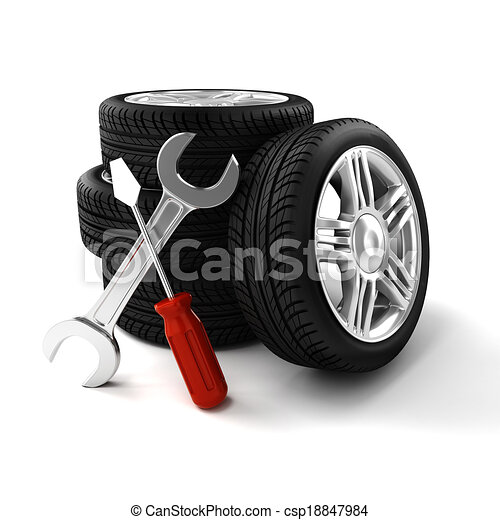 3d tires on white background - csp18847984