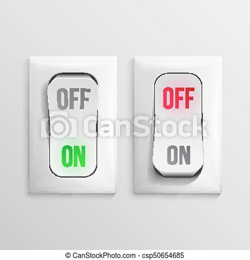 3D Toggle Switch Vector. White Switches With On, Off Position. Electric Light Control Illustration. - csp50654685
