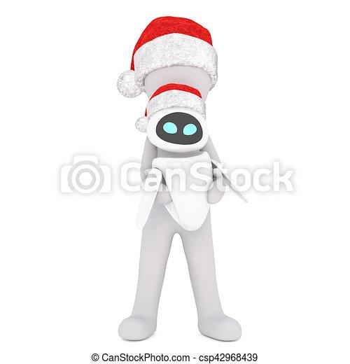 3ea27239f81c0 Full body 3d toon character holding alien toy in santa hat on white.