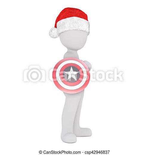 5948e23f5b6fd Full body 3d toon in santa hat holding superhero target on white.