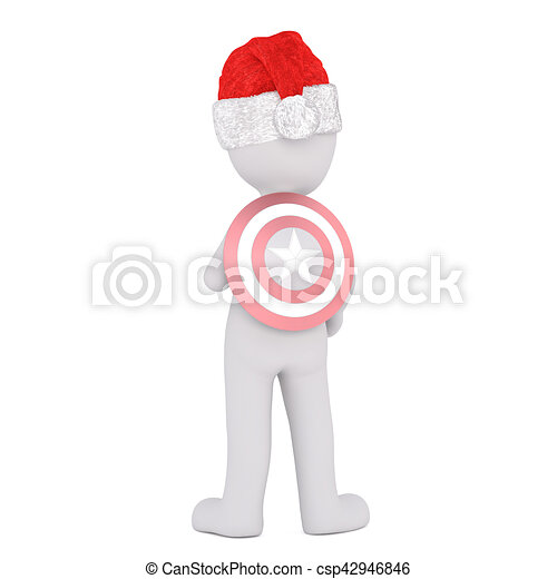 8787393f69209 Rear view of 3d toon in santa hat with superhero target on back ...