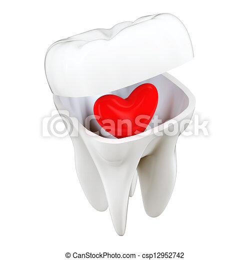 3D Tooth Heart Concept - csp12952742