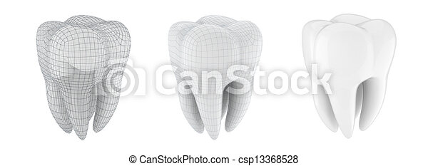 3d tooth on white background - csp13368528