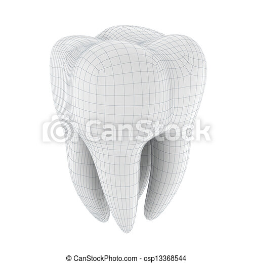 3d tooth on white background - csp13368544