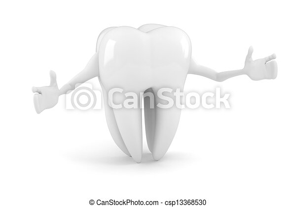 3d tooth on white background - csp13368530