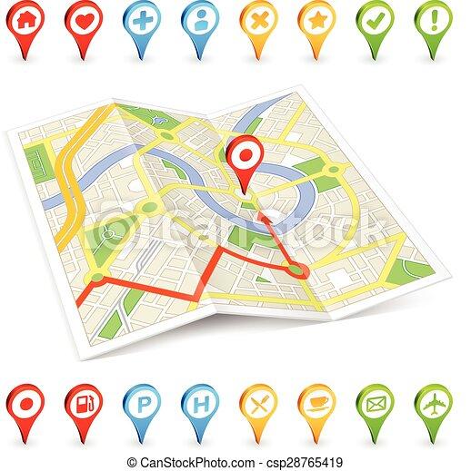 3D tourist Citymap with important places markers - csp28765419