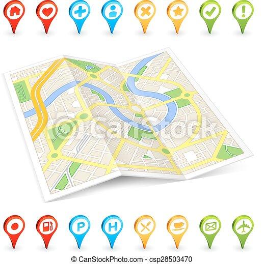 3D tourist folded Citymap - csp28503470