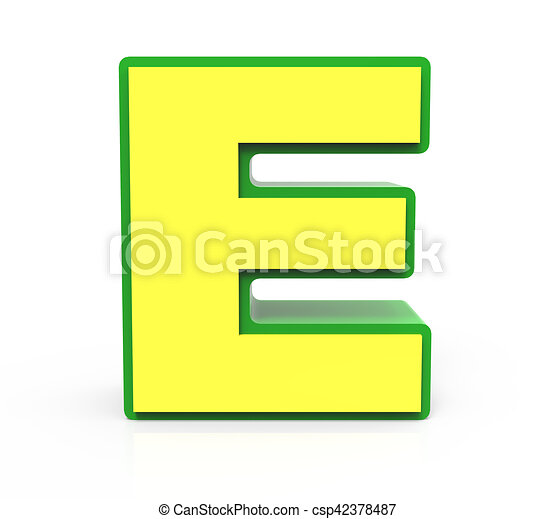 3d toy letter e 3d rendering toy letter e isolated on white rh canstockphoto com