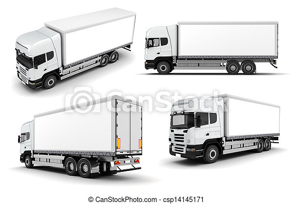 3d truck on white background - csp14145171