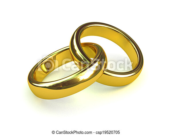 3d Two gold rings entwined - csp19520705