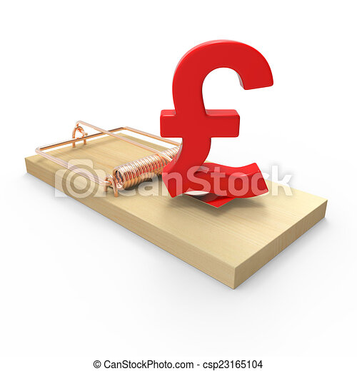 3d Uk Pounds Sterling Currency Symbol On Mousetrap 3d Render Of A