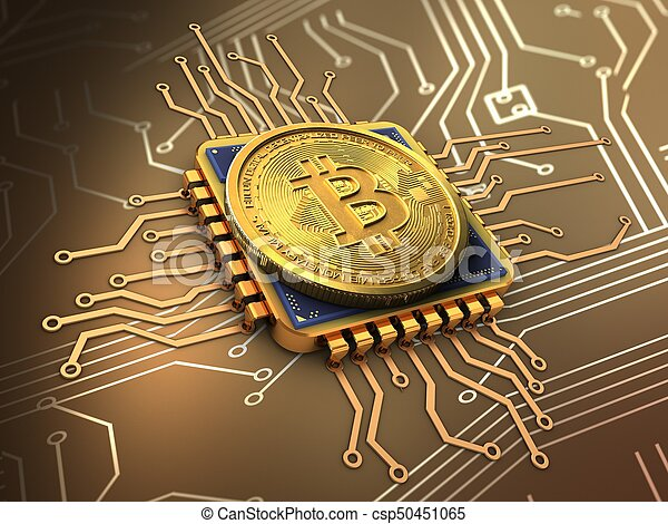 3d, unité centrale traitement, or, bitcoin - csp50451065