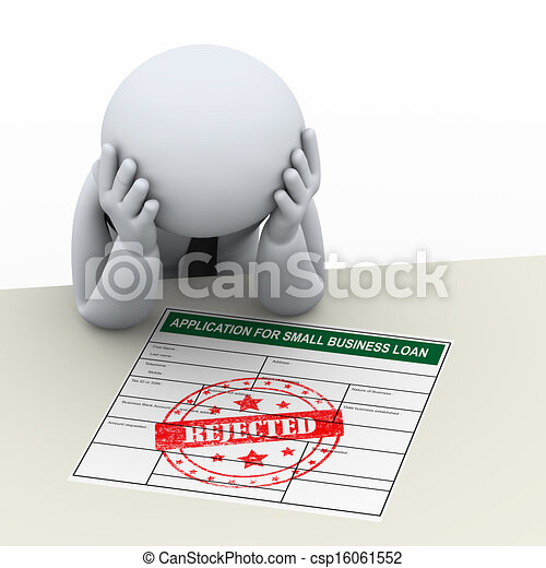 3d upset business man after loan application rejection - csp16061552
