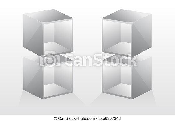 3d. Estante de libros vacíos. Vector - csp6307343