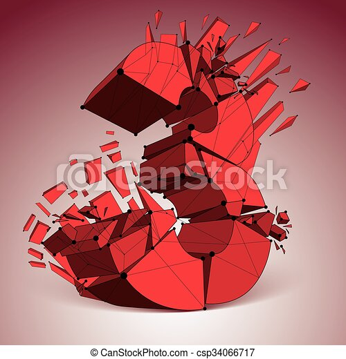 3d vector digital wireframe red number 3 broken into different particles,  geometric polygonal numeration with lines mesh  Low poly shattered