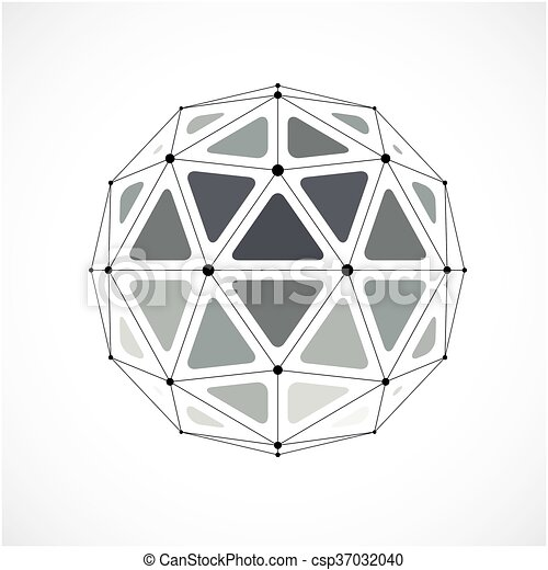 3d vector digital wireframe sphere - csp37032040