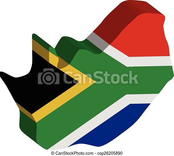 3D vector flag map of South Africa. - csp26205890