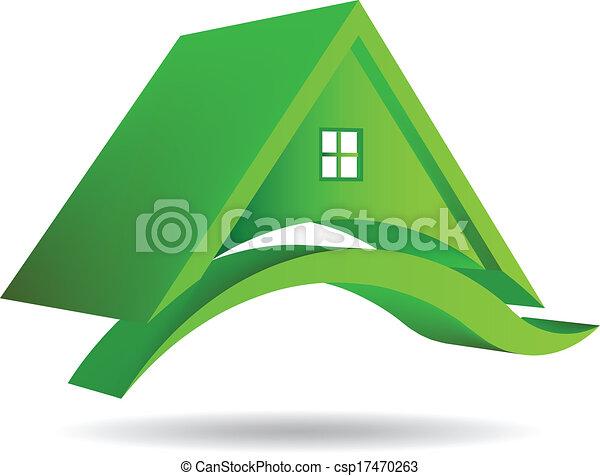 3D Vector Green House Icon - csp17470263