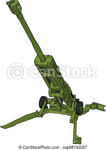 3D vector illustration of a military surface-to-air missile launcher - csp68743027