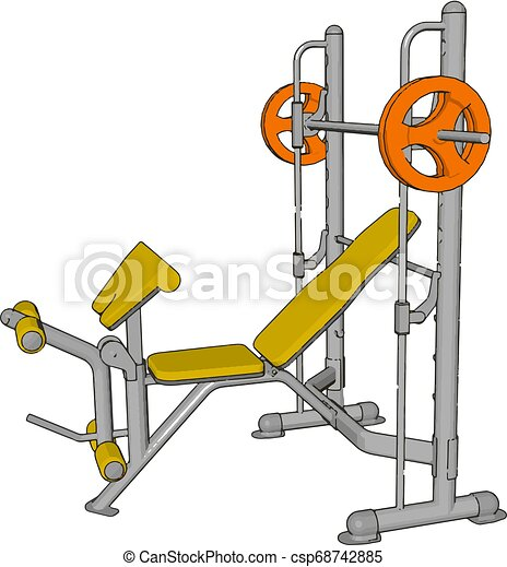 3D vector illustration of a yellow gym weight lifting device on white background - csp68742885