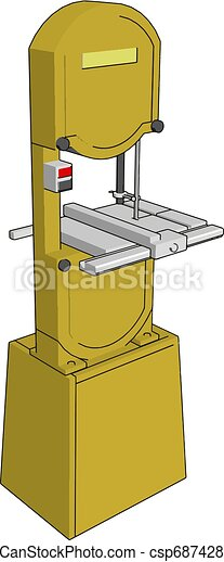 3D vector illustration on white background of an yellow metal cutting saw - csp68742841