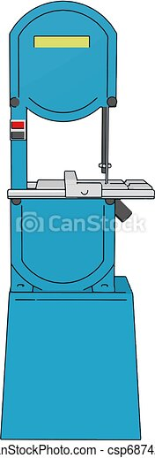 3D vector illustration on white background of a blue metal cutting saw - csp68742845