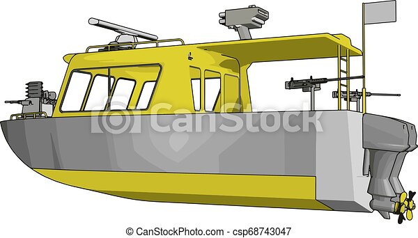3D vector illustration on white background of a grey and yellow military boat - csp68743047